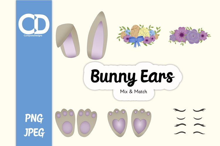 Easter Bunny ears Mix & Match example image 1