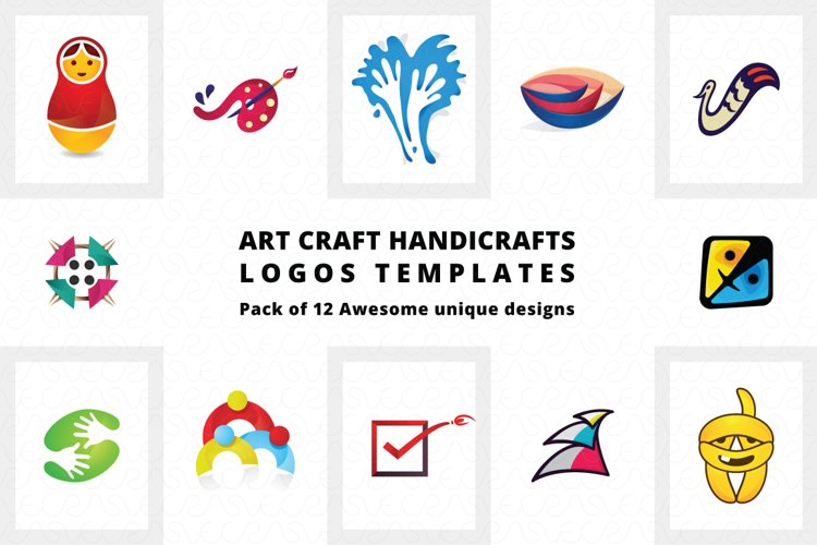 Art Craft Handicrafts Logo Templates Pack of 12 example image 1