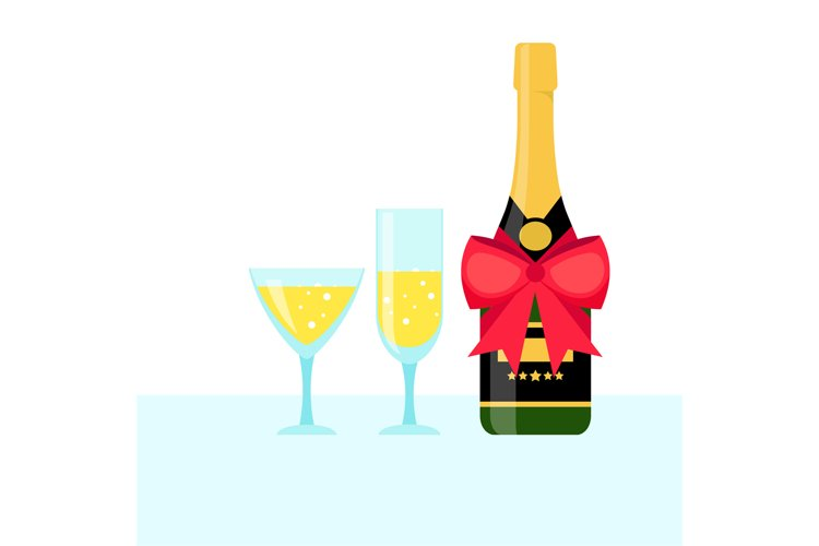 Bottle of champagne and filled glasses example image 1
