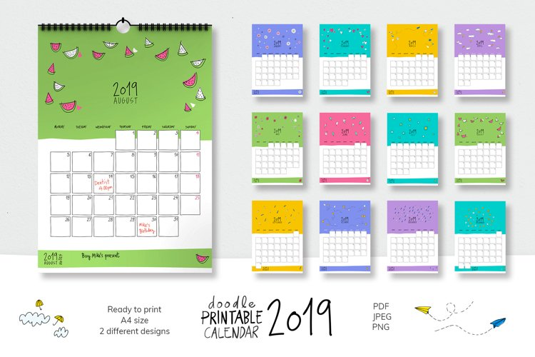 2019 Doodle Printable Calendar example image 1