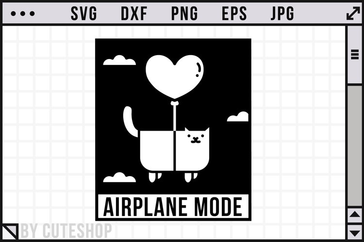Airplane mode - Funny Cat SVG Cut File | SVG, DXF, PNG
