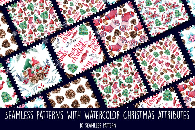 Seamless patterns with watercolor Christmas elements. example image 1