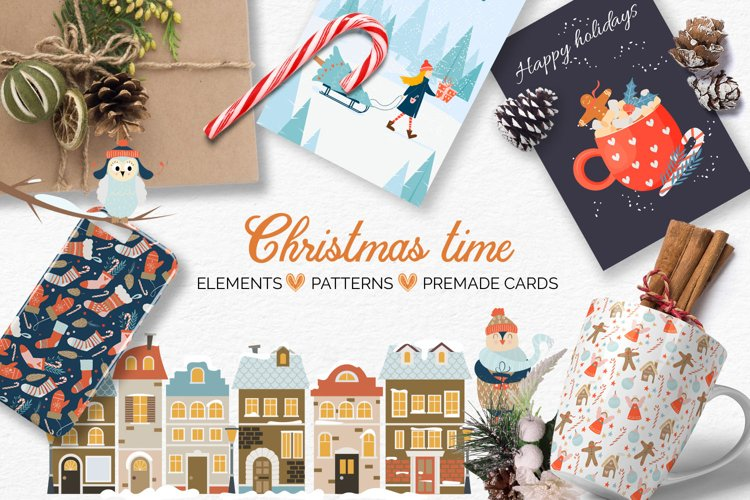 Big Christmas bundle with vector elements, patterns, cards