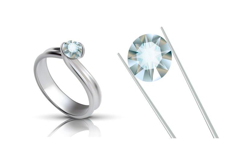 Precious Platinum Ring With Round Gemstone Vector