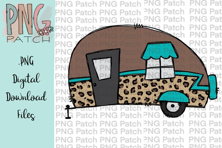 Leopard Print Camper, Camping PNG File, Outdoor Sublimation example image 1