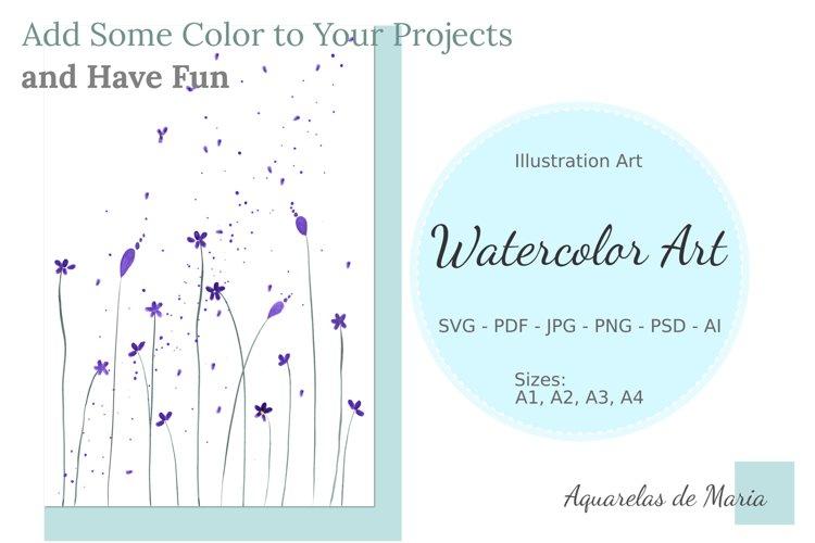 Purple Little Flowers Watercolor Art - Isolated Flowers