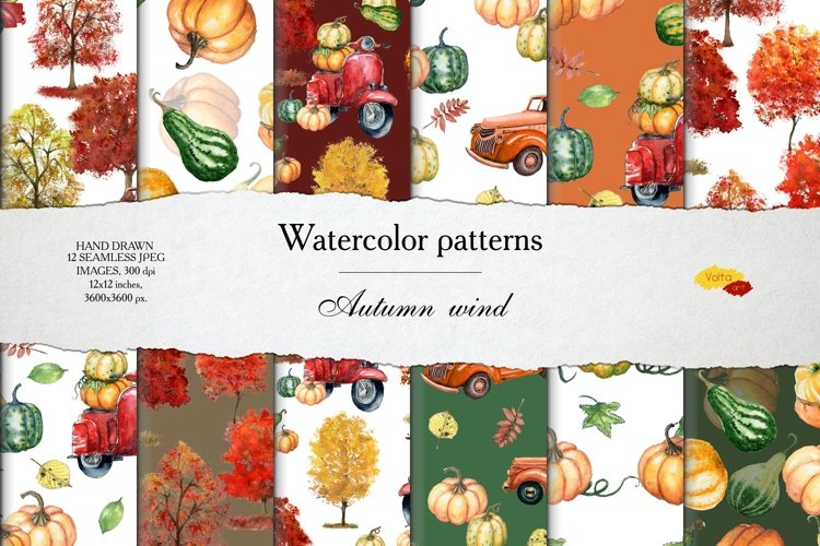 Watercolor seamless Autumn patterns example image 1