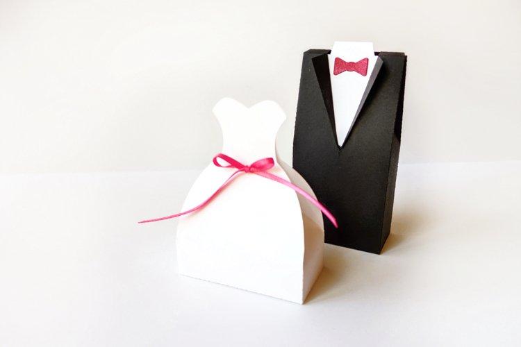 Wedding Dress and Tuxedo Box Set SVG PDF Design example image 1