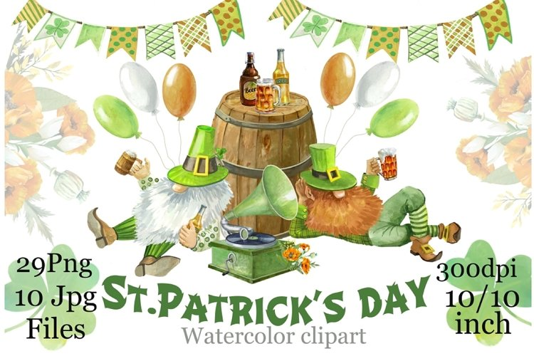 St. Patrick's Day,Gnomes watercolor clipart, digital paper. example image 1