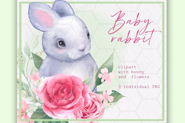 Bunny and Flowers. Cute clipart example image 1