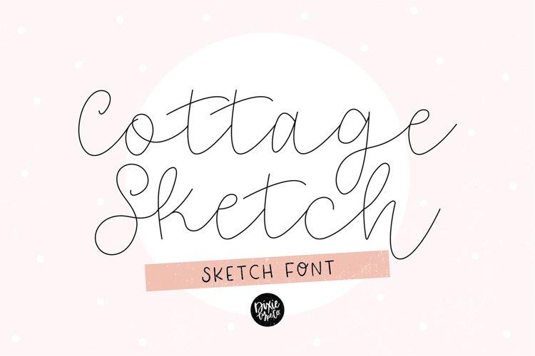 """""""COTTAGE SKETCH"""" Sketch Font - Single Line/Hairline Font example image 1"""