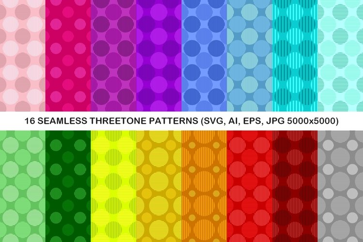 16 Seamless ThreeTone Circle Patterns example image 1