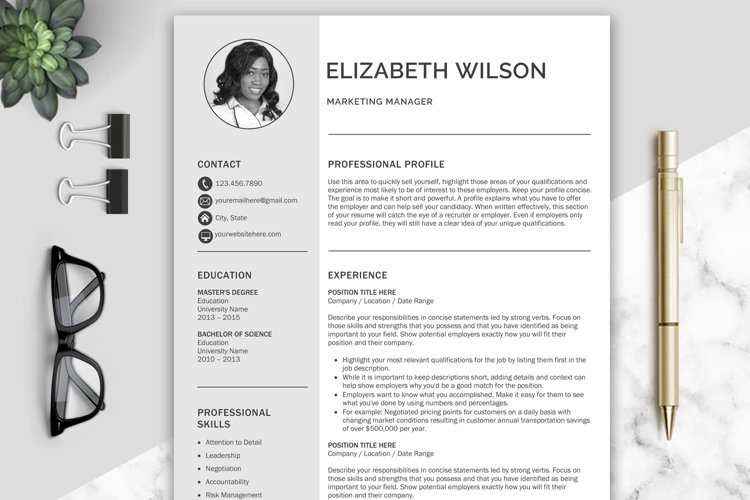 Creative Resume Template, CV Template, Resume Template Word example image 1