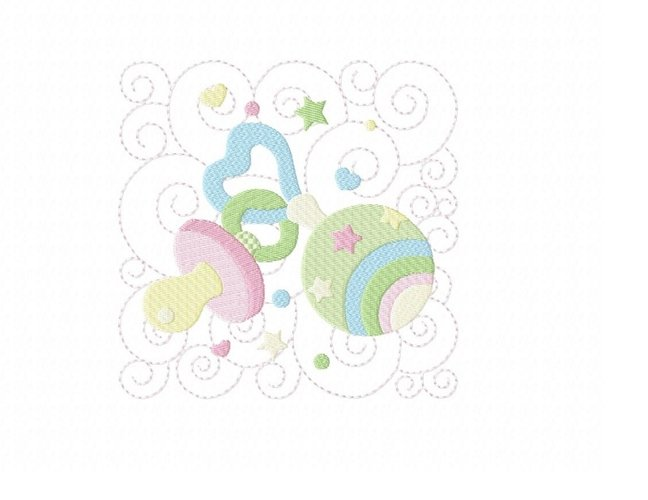 Baby Quilt Block 1 in 3 sizes example image 1