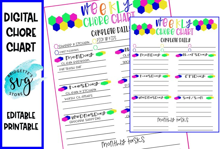 Planner and Chore Chart Digital Printable File example image 1