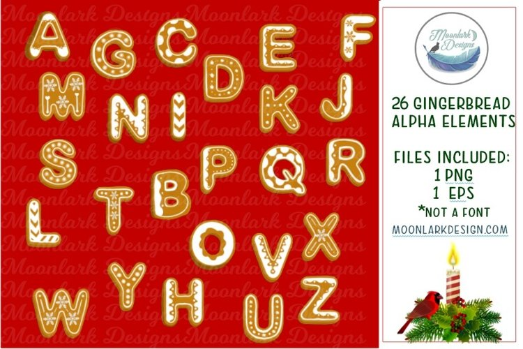 Gingerbread Christmas Cookie Letter Alpha PNG Sublimation example image 1