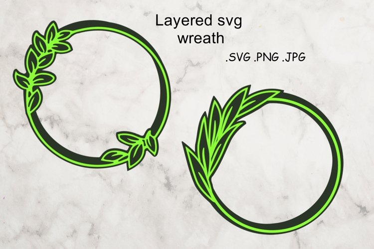 Layered SVG Wreath - Multilayered Floral SVG - sSVG Cut File example image 1