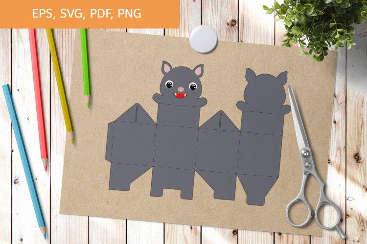 Cute Bat Gift Box Template SVG, Gift Box SVG example image 1