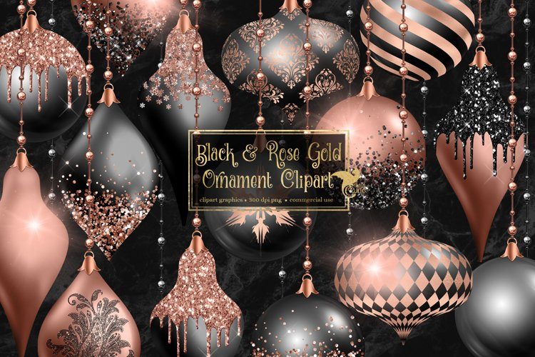 Black and Rose Gold Christmas Ornaments Clipart