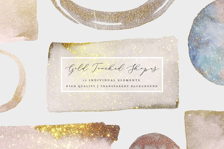 Watercolor Gold Sparkle Sprinkled Shapes example image 1