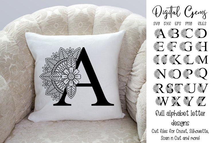 Alphabet floral cut file designs SVG / DXF / EPS / PNG files