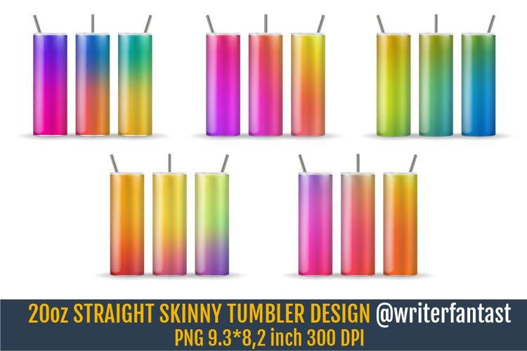 20oz STRAIGHT Skinny Tumbler Sublimation, Rainbow template example image 1