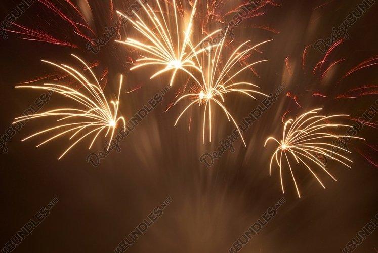 Beautiful fireworks on black sky background example image 1