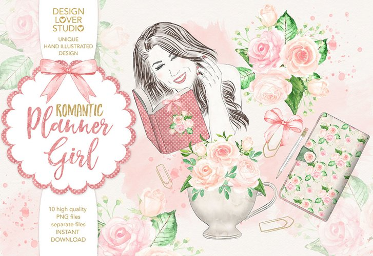Watercolor Planner Girl design example image 1