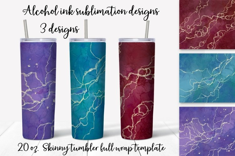 Alcohol ink sublimation design. Skinny tumbler wrap design.
