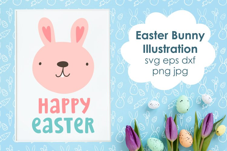 Easter Bunny SVG Cut File. Happy Easter Cute Illustration