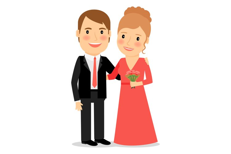 Happy couple with bouquet example image 1