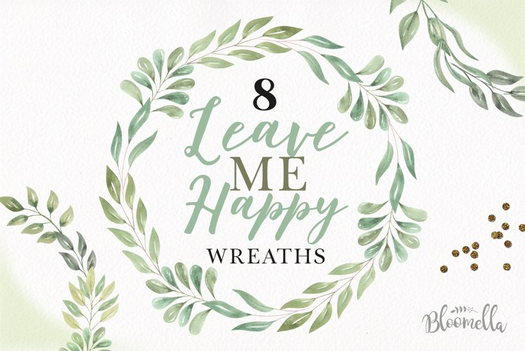 Frames Watercolor Clipart Wreaths Garlands Leaves Leaf Green example image 1