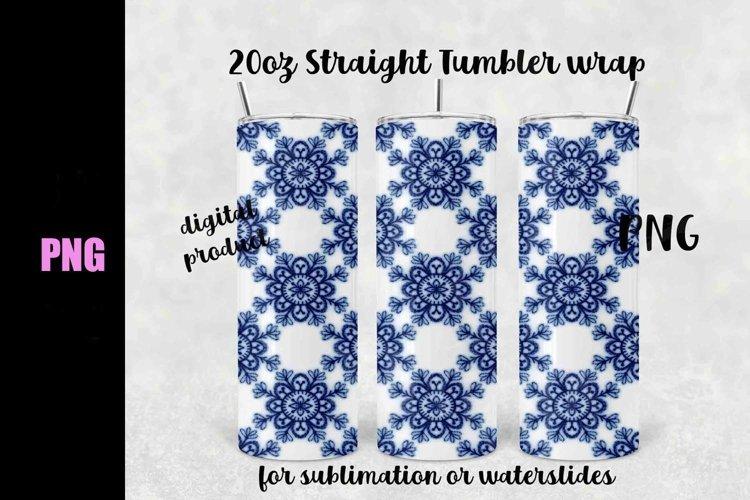 Blue Delft sublimation wrap 20 oz straight - Downloadable example image 1