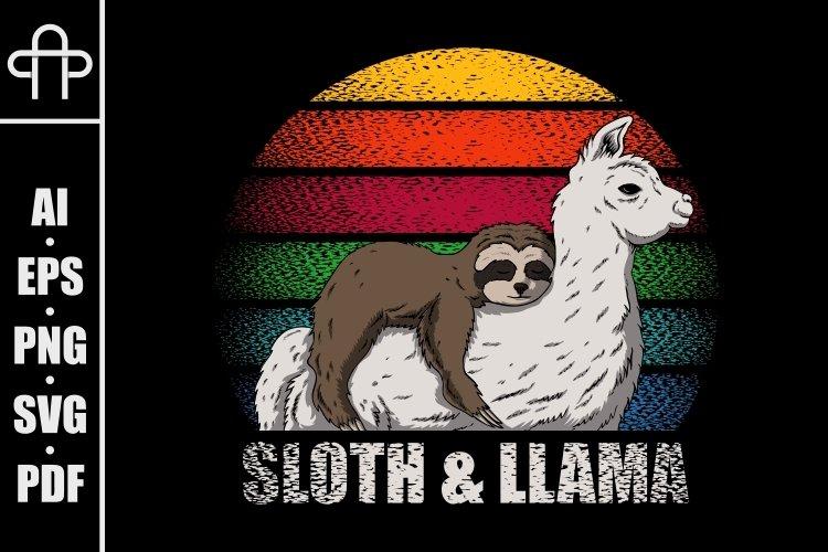 Sloth and llama retro vector illustration example image 1