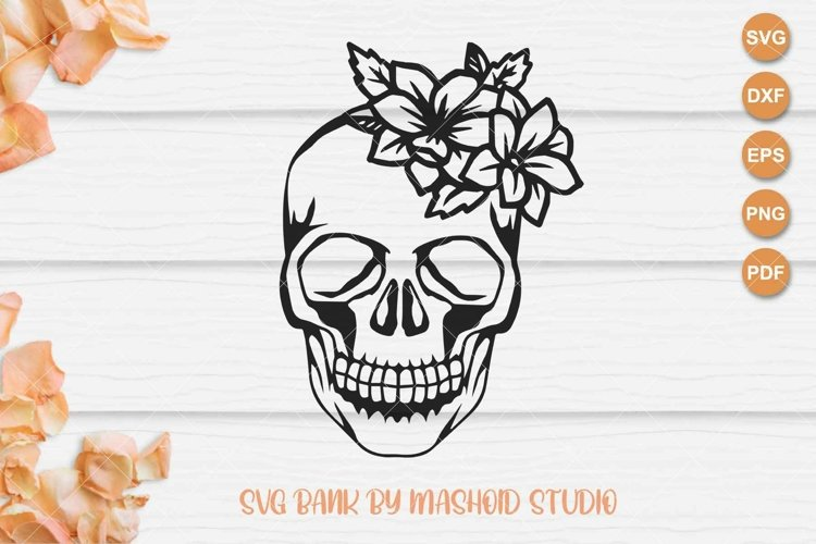 Skull With Flowers SVG Files example image 1