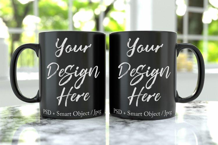 11oz black mug mockup with PSD smart object example image 1