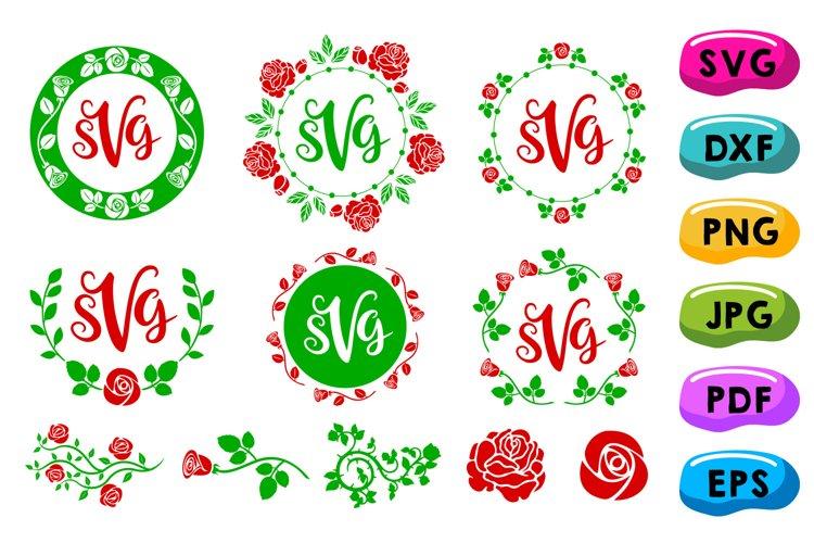 Rose Monogram Frames Svg, Circle Flowery Initial Borders Svg example image 1