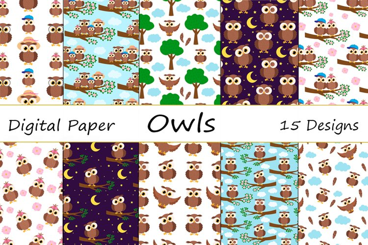 Set Seamless patterns cute owl vector illustration example image 1