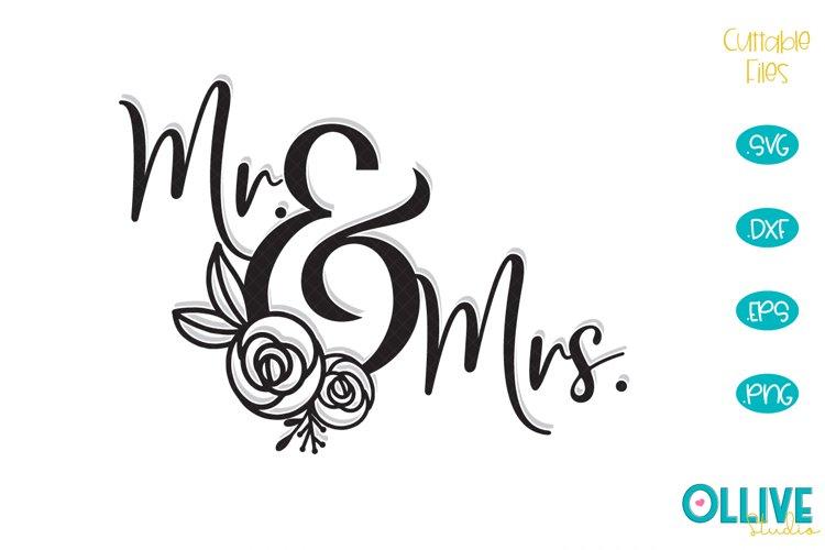 Wedding Floral Mr & Mrs SVG example image 1