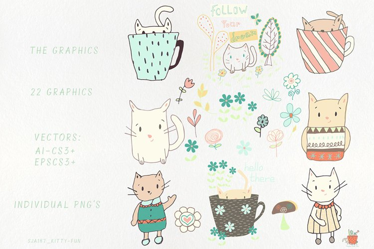 Kitty Fun Vector Swatches Patterns - Free Design of The Week Design0