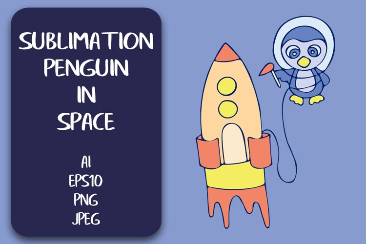 Sublimation T-shirt Penguin in Space PNG