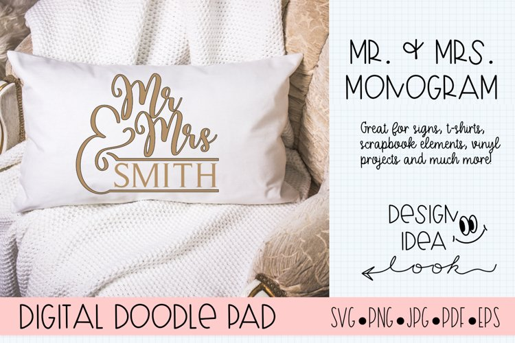 Mr. & Mrs. Monogram SVG |Silhouette and Cricut Cut Files example image 1