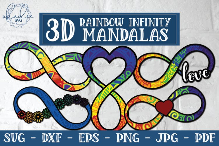 3D Rainbow Infinity Mandala, Autism, Neurodiversity, SVG example image 1