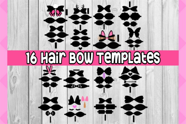 Hair bow svg files - 16 hair bow BUNDLE templates - discount example image 1