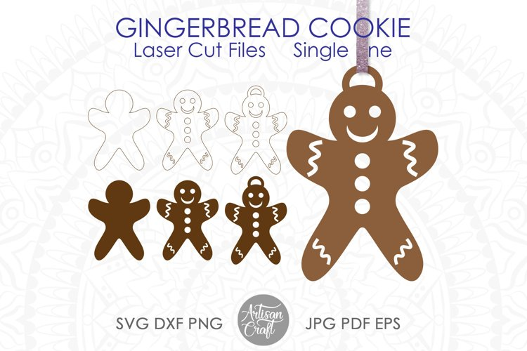 Gingerbread cookies SVG, laser cutting files, ornament