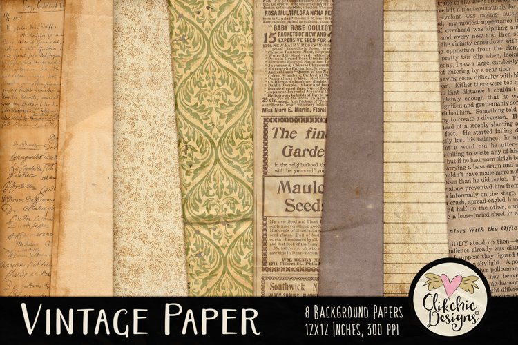 Vintage Paper Backgrounds - Vintage Texture Digital Papers example image 1