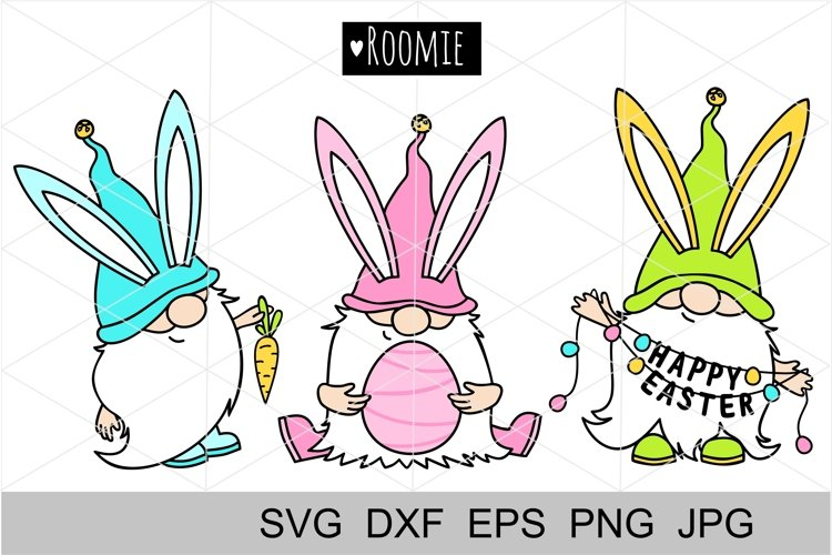 Easter bunny Gnomes svg, cut files, Silhouette, Cricut file example image 1