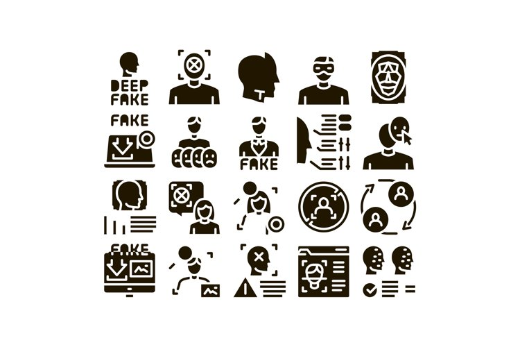 Deepfake Face Fake Glyph Set Vector example image 1