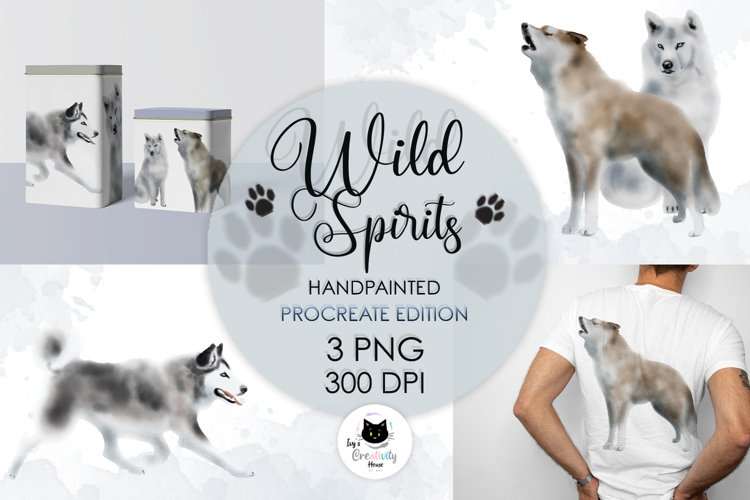 Watercolor Wolf and Husky   Dog PNG Sublimation Designs example image 1
