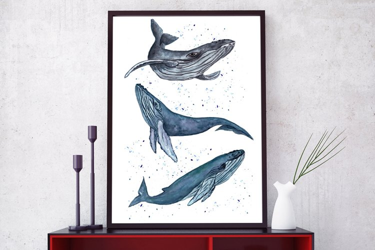 Whale printable Watercolor whale Blue Whale print Whale Art